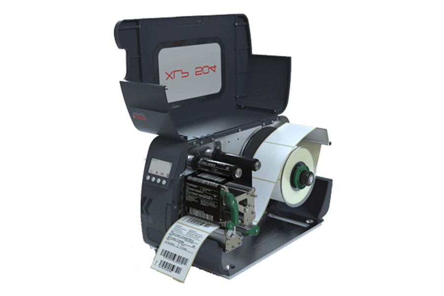 XLP 504 Label Printing Machine Opened Up With Sticker Roll And Conveyor Exposed
