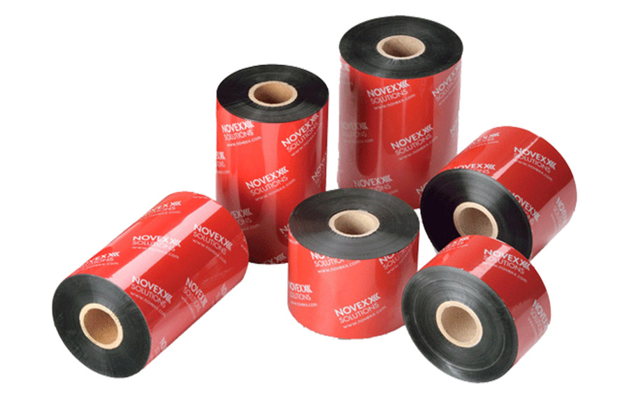 Six Rolls of Red Novex Product Labels